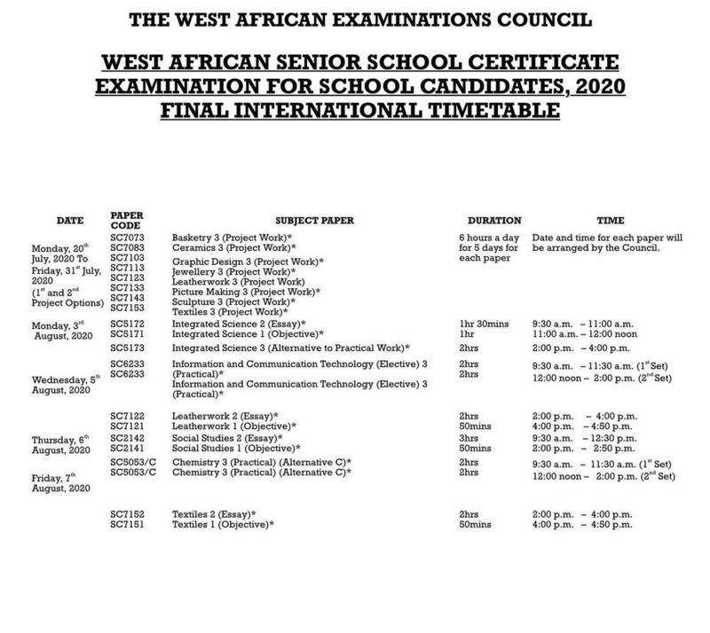 2020 WAEC timetable