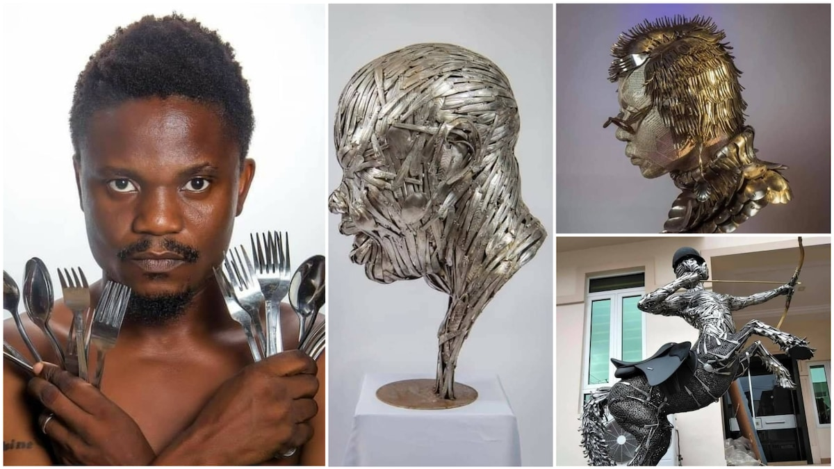 Nigerian man Abinoro Collins uses spoons to craft beautful artworks, goes viral