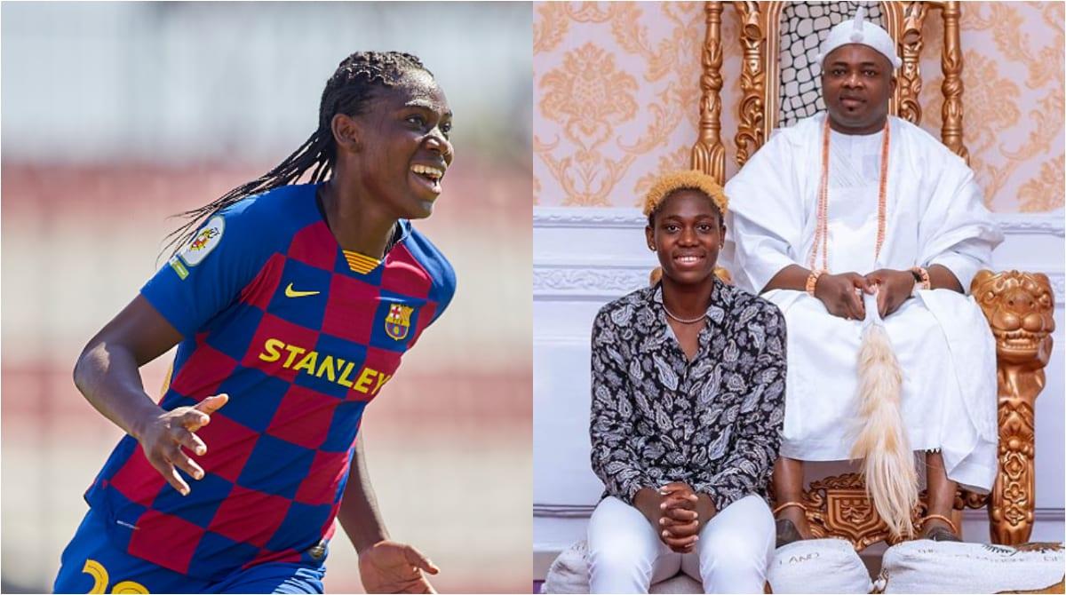 Asisat Oshoala visits Oba Elegushi in Lagos for royal blessings